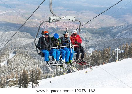 Ski Resort Bansko, Bulgaria Aerial View, Skiers On Lift