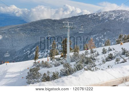 Ski Resort Bansko, Bulgaria View, Skiers On Lift
