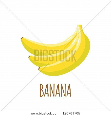 Banana icon in flat style on white background