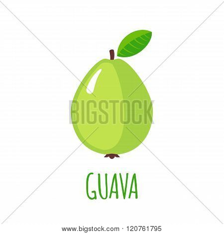 Guava icon in flat style on white background