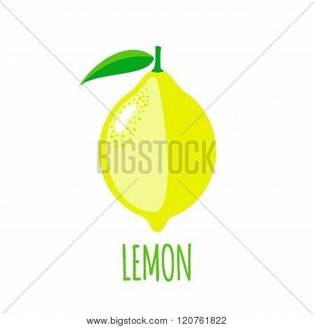 Lemon icon in flat style on white background
