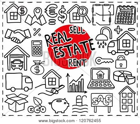 Real Estate set. Freehand doodle icons. Graphic elements - and more. Vector illustration