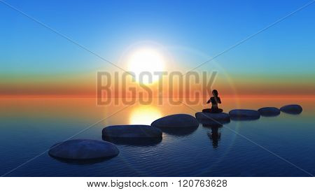 3D render of a female in a yoga pose on stepping stones in the ocean at sunset
