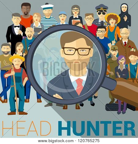 Headhunting, looking for employee. Human resources vector mock up