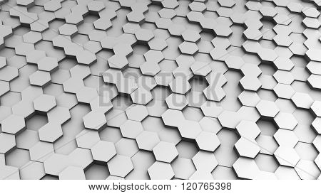 Hexagon (Regular hexagon) background - computer generated image (3D render)