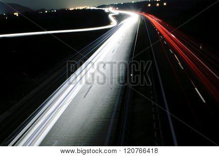 Long Exposure Of Car Lights On A Freeway