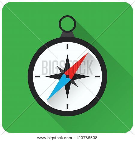 Flat design of compass icon on green background