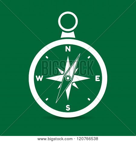 Vector illustration of one colored compass icon