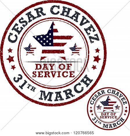 Cesar Chavez Day. Stamp Set.