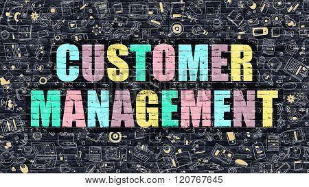 Customer Management in Multicolor. Doodle Design.