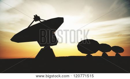 Radio Telescope Antenna Observatory Arrays, Dishes Under Cloudy Sky In The Sunset Sunrise