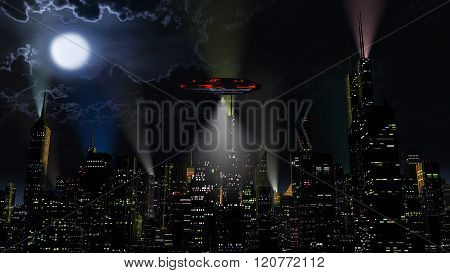 UFO over Modern Vivid Color City at Night