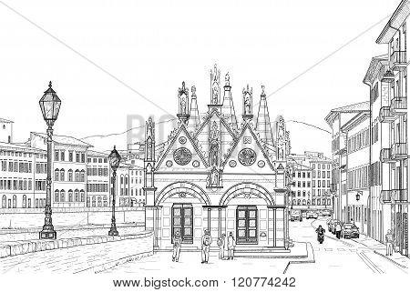 Sketch of the Church of Santa Maria della Spina on the river Arno in Pisa
