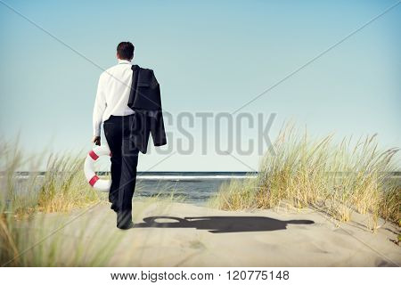 Businessman Peaceful Abandon Relaxation Travel Concept