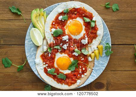 Huevos Rancheros Closeup On The Table, Horizontal View From Above