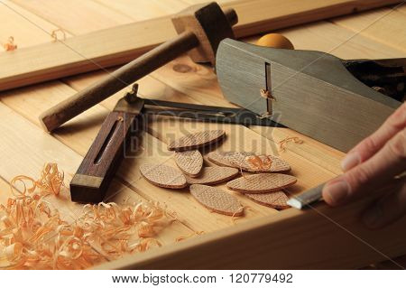Carpentry and joinery tools in joiners workshop. poster