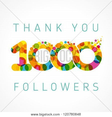 Thank you 1000 followers color numbers