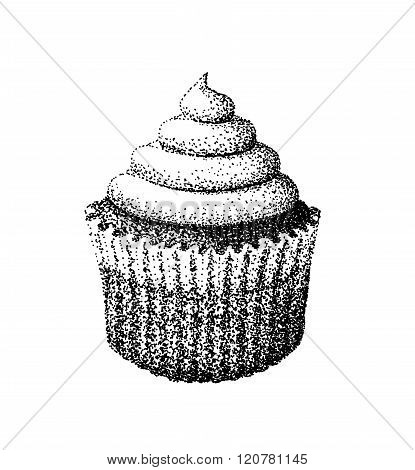 Cupcake illustration old lithography style hand drawn
