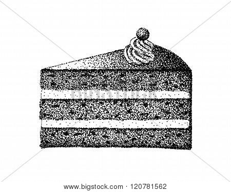 A piece of birthday cake illustration old lithography style hand drawn