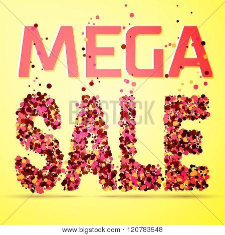 Mega sale word on colorful background