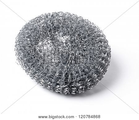 Wire sponge isolated on white background.