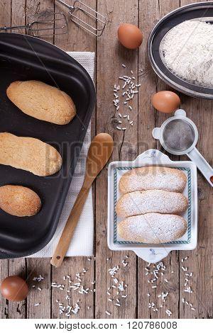 Fresh Baked Savoiardi Biscuits