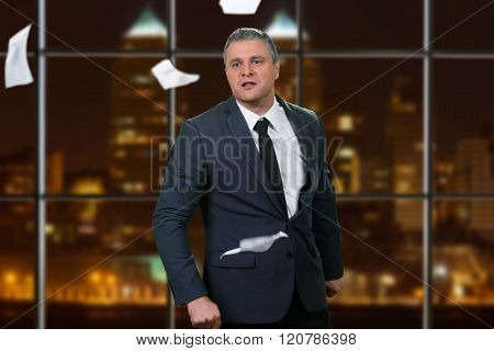 Angry businessman at the office.