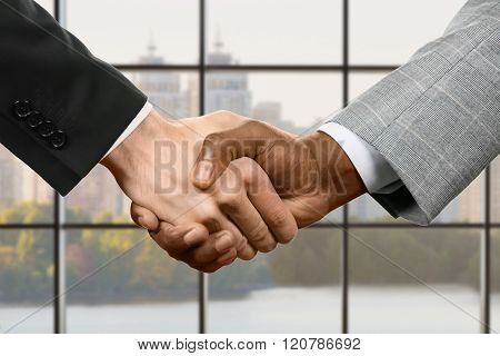 Business handshake on city background.