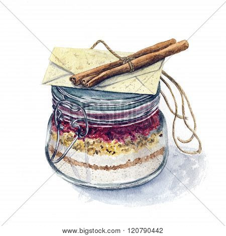Colorful watercolor hand drawn covered cooking pot