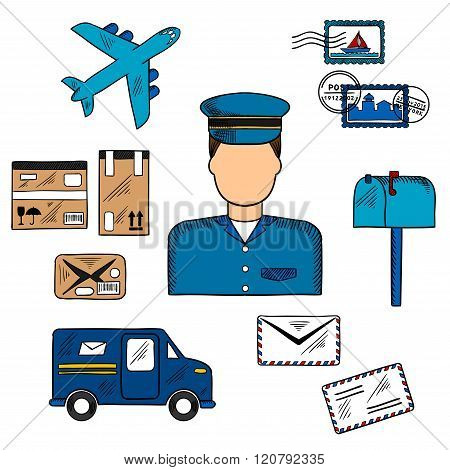 Postal icons around a Postman