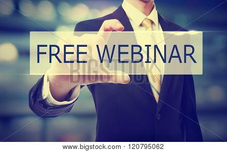 Business Man Holding Free Webinar