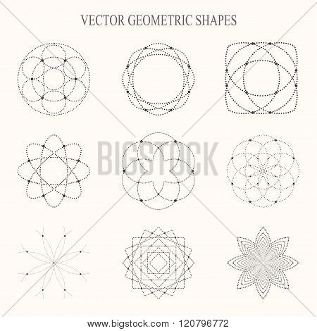 Collection of vector geometric shapes.