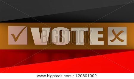 Vote text with check mark on germany flag background