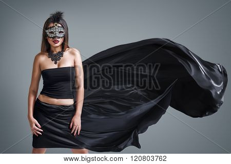 Beautiful Young Woman In Venetian Carnival Mask