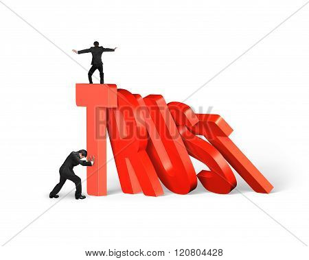 Man Stopping Trust Domino Falling With Another Balancing On It