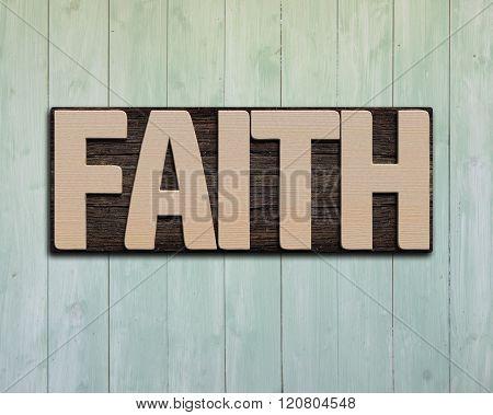 Faith Wooden Word On Wall