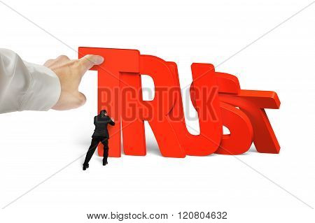 Man Stopping Trust Domino Falling With Another Hand Helping