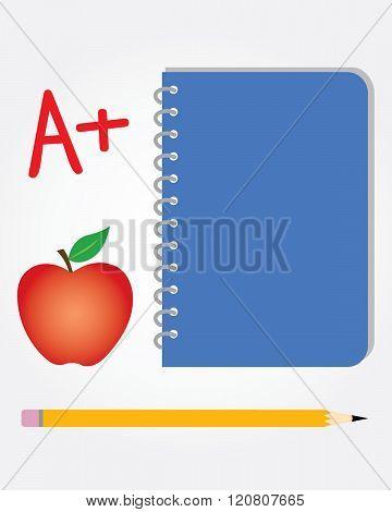 Vector school set. Includes pencil, notebook, apple and A+ grade symbol