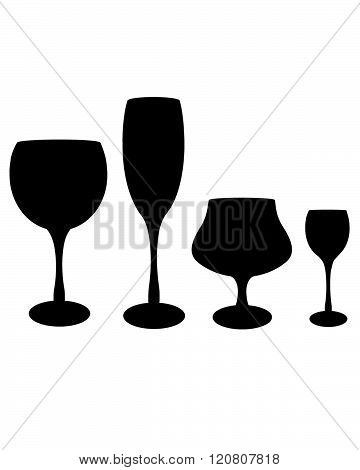 A collection of vector bar glasses in black and white