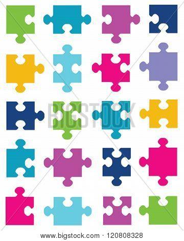 Vector set of unique colorful puzzle pieces