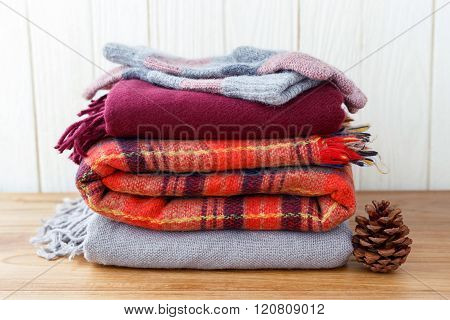 Scarft Gloves And Blanket Stack