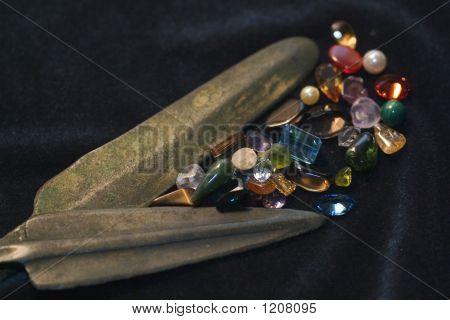 Bronze Arrowheads With Stones