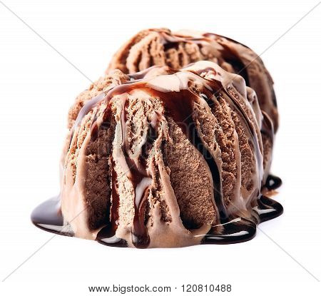 Ice Cream With Chocolate Topping