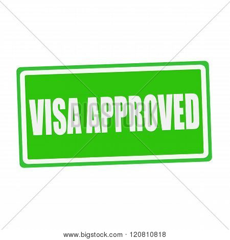 VISA APPROVED white stamp text on green