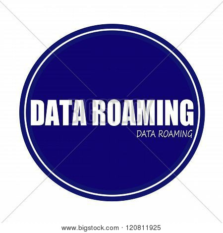 DATA ROAMING white stamp text on blue