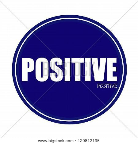 an images of POSITIVE white stamp text on blue