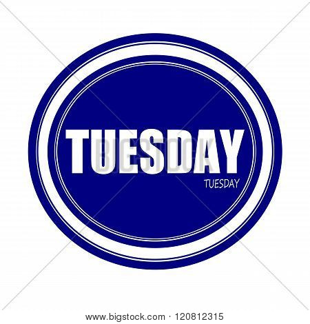 an images of TUESDAY white stamp text on blue