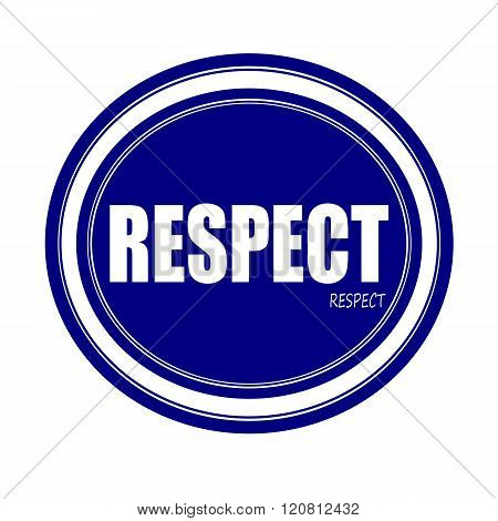 an images of RESPECT white stamp text on blue poster