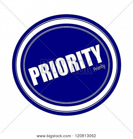 an images of PRIORITY white stamp text on blue poster