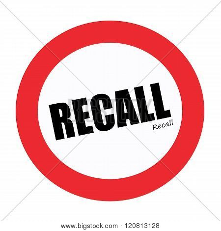an images of RECALL black stamp text on white